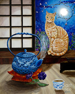 Orange Tabby Painting - Blue Moon Tea by Laura Iverson