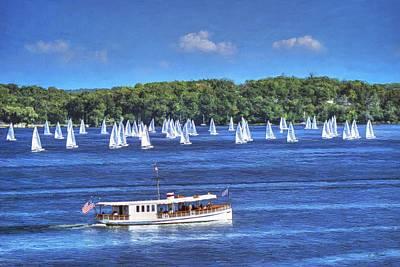 Boat Painting - Blue Morning Cruise - Lake Geneva Wisconsin by Ben Thompson