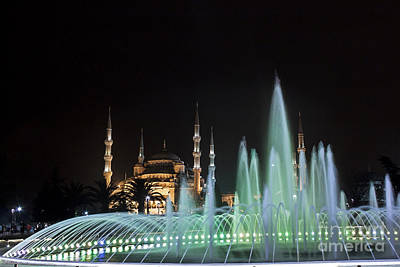 Istanbul Photograph - Blue Mosque At Night by Shishir Sathe