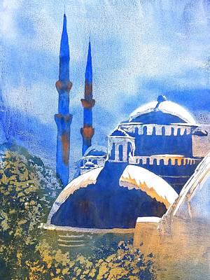 Eastern Europe Painting - Blue Mosque In Blues by Carlin Blahnik
