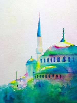 Eastern Europe Painting - Blue Mosque In Greens by Carlin Blahnik