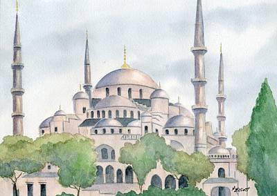 Blue Mosque Print by Marsha Elliott