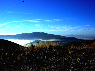 Blue Mountain Landscape Umbria Italy Print by Maggie Vlazny
