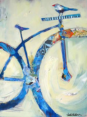 Blue Mt Bike And Bird Print by Shelli Walters