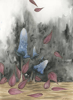 Blue Mushrooms Two Original by Emily Magone