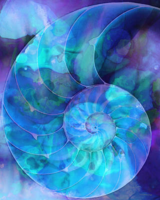 Fractal Painting - Blue Nautilus Shell By Sharon Cummings by Sharon Cummings