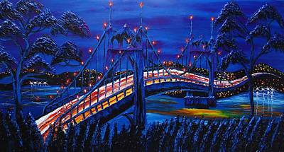 Blue Night Of St. Johns Bridge #14 Print by Portland Art Creations