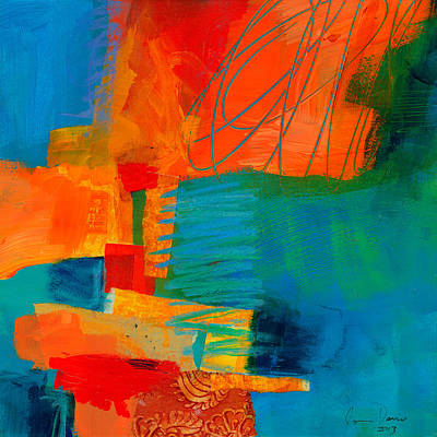 Abstract Collage Painting - Blue Orange 2 by Jane Davies