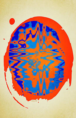 Blue Orange Abstract Aged Print by Christina Rollo