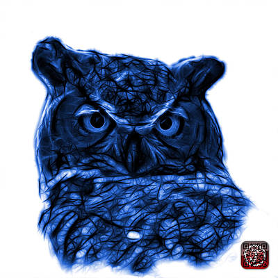 Owl Digital Art - Blue Owl 4436 - F S M by James Ahn