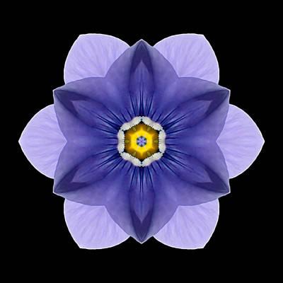 Blue Pansy I Flower Mandala Print by David J Bookbinder