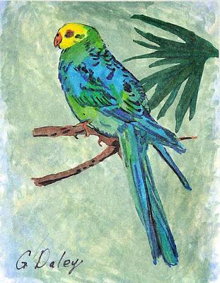 Blue Parakeet Print by Gail Daley