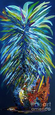 Teal Painting - Blue Pineapple by Eloise Schneider