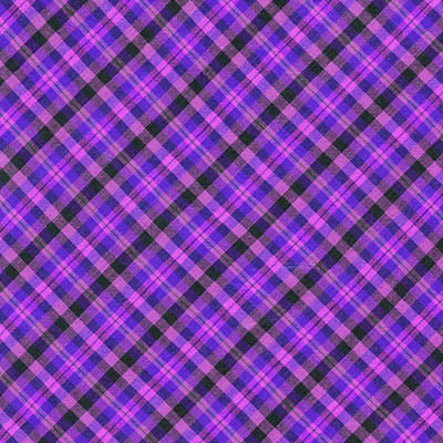 Blue Pink And Black Diagnal Plaid Cloth Background Print by Keith Webber Jr