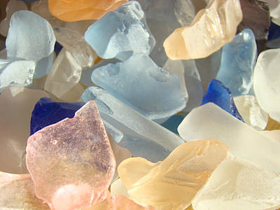 Seaglass Photograph - Blue Pink Orange Seaglass Beach Garden by Baslee Troutman
