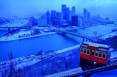 Blue Pittsburgh Print by Matt Matthews