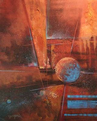 Outer Space Abstract Painting - Blue Planet by Tom Shropshire