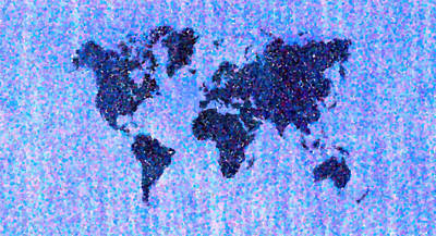 Blue Pointillist World Map Print by Hakon Soreide