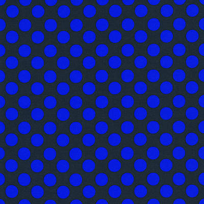 Blue Polka Dots On Black Textile Background Print by Keith Webber Jr