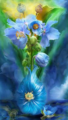 Blue Poppies In Poppy Vase Print by Carol Cavalaris