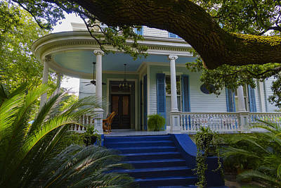 Blue Porch In Garden District Print by Steve Samples