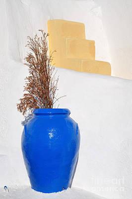 Blue Pot In Oia Town Print by George Atsametakis