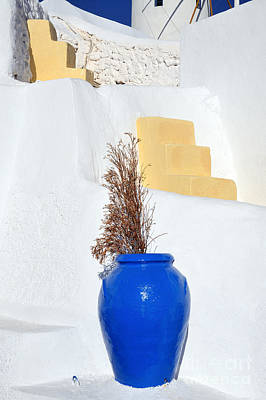 Summer Photograph - Blue Pot In Oia Town by George Atsametakis