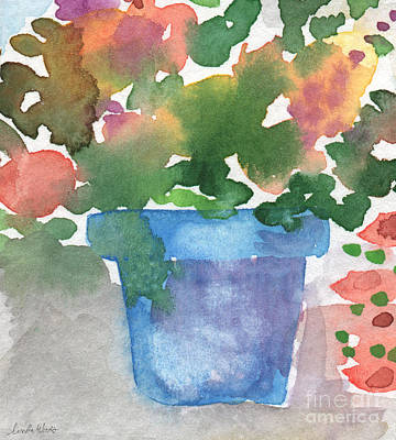 Blue Pot Of Flowers Print by Linda Woods