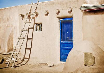 Blue Pueblo Door And Ladder Print by Marilyn Hunt
