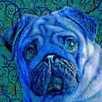 Whimsical Dog Digital Art - Blue Pug by Jane Schnetlage