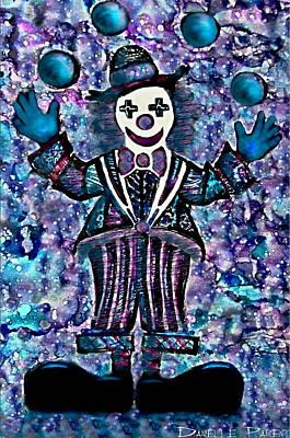 Blue Purple Alcohol Inks Juggling Clown Print by Danielle  Parent