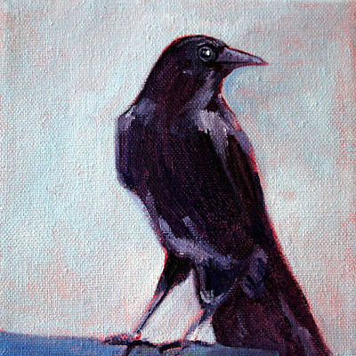Raven Painting - Blue Raven by Nancy Merkle