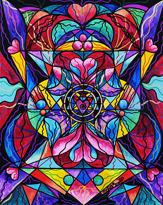 Geometric Painting - Blue Ray Healing by Teal Eye  Print Store