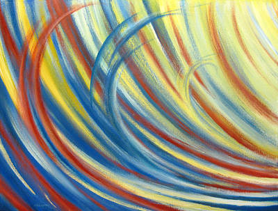 Blue Red And Yellow Wave Print by Michael Morgan
