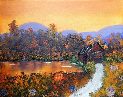 Covered Bridge Painting - Blue Ridge Covered Bridge by Margaret G Calenda