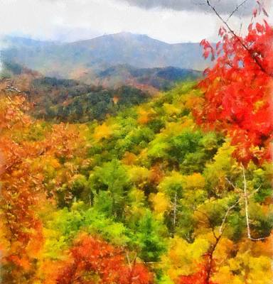 Asheville Painting - Blue Ridge Mountains Fall Color by Dan Sproul