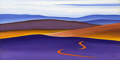 Abstraction Digital Art - Blue Ridge Orange Mountains Sky And Road In Fall by Catherine Twomey