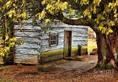 Blue Ridge Parkway - Mabry Mill Building In The Rain Print by Dan Carmichael