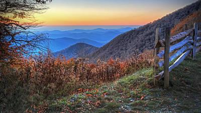 Split Rail Fence Photograph - Blue Ridge Sunrise by Jaki Miller