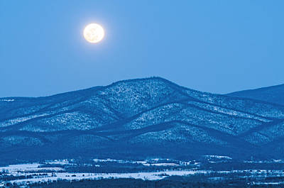 Blue Ridge Winter Moon Print by Lara Ellis