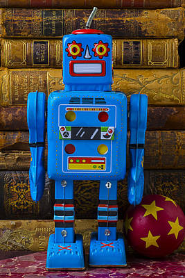 Blue Robot And Books Print by Garry Gay
