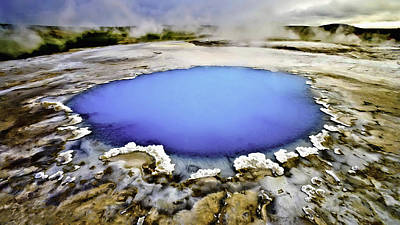 Blue Saphire Pool At Yellowstone National Park Original by Dr Bob Johnston