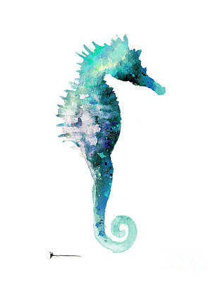 Seahorse Mixed Media - Blue Seahorse Watercolor Art Print Painting by Joanna Szmerdt