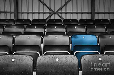 Spectators Digital Art - Blue Seat In The Football Stand by Natalie Kinnear