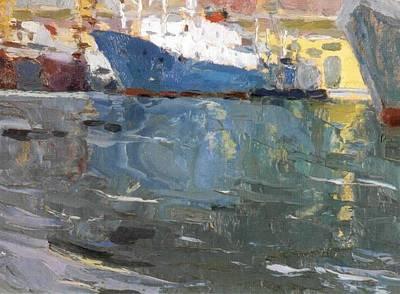 Blue Ship  Vladivostok Vintage Art Prints Print by Jake Hartz