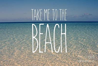 Blue Sky Golden Beach Sand Calm Ocean Waters Print by Beverly Claire Kaiya