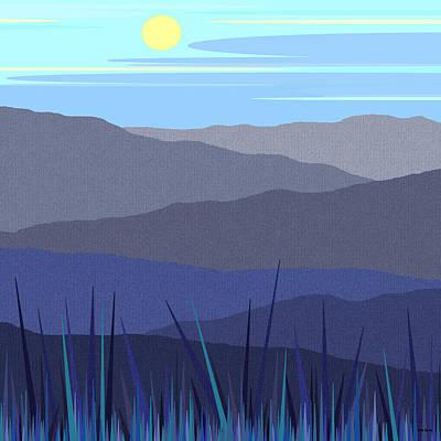 Minimalist Landscape Digital Art - Blue Sky Hills by Val Arie