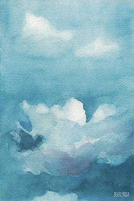 Blue Sky White Clouds Watercolor Painting Print by Beverly Brown
