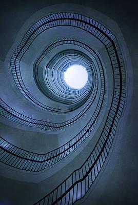 Blue Spiral Staircaise Print by Jaroslaw Blaminsky