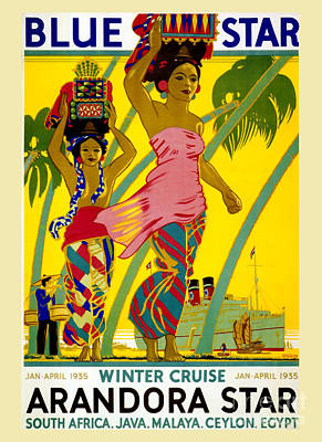 Culture Drawing - Blue Star Vintage Travel Poster by Jon Neidert